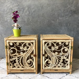 set of two peacock bedside tables