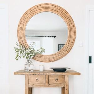 rattan webbing mirror large