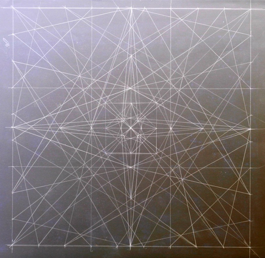 While Thinking About Snow and Ice by Jojo, image of intersection lines on a chalkboard