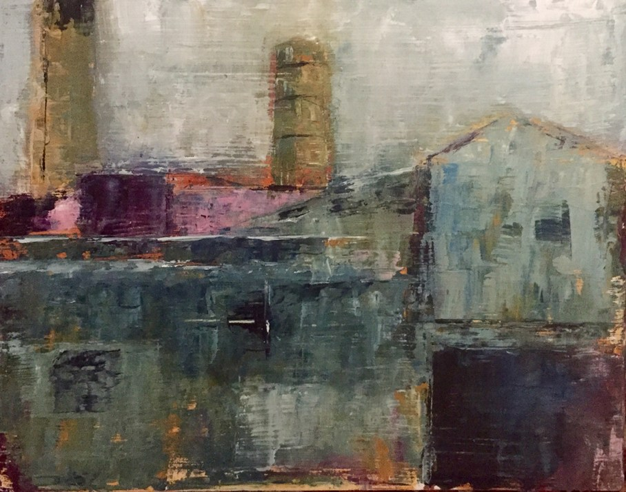 Impressionistic painting of old industrial buildings
