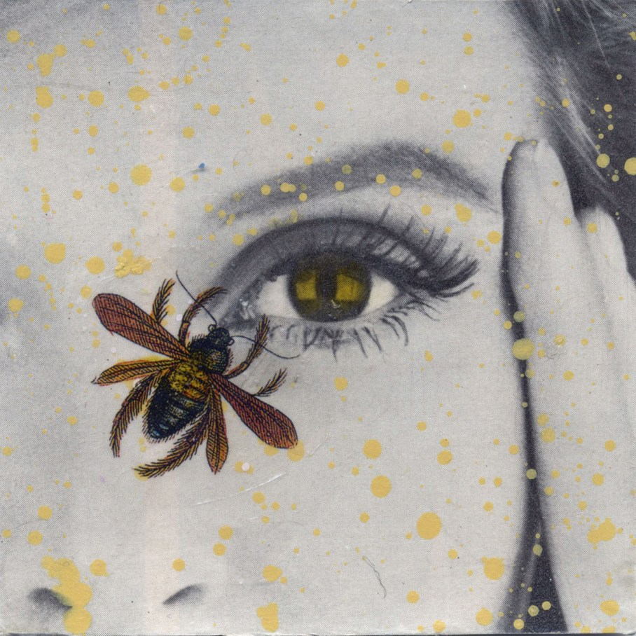 Photo collage of a bee near someone's eye
