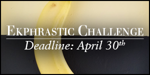 Ekphrastic Challenge, deadline at the end of the month, photo banana hanging against a yellow and black wall