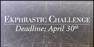 Ekphrastic Challenge, deadline at the end of the month, image of white lines on a gray chalkboard intersecting many times