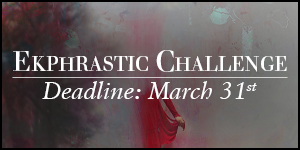 Ekphrastic Challenge, deadline at the end of the month, painting of a woman in a red dress emerging from a gray sky