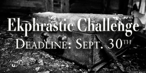 Ekphrastic Challenge, deadline at the end of the month, image of tattered suitcase in black and white