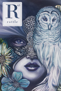 Rattle #63 cover, woman with owl mask