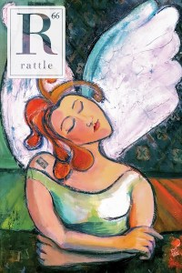 Rattle #66 cover, painting of an angel playing dice