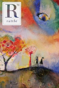 Rattle #70 cover, colorful painting of two figures embracing near bright red trees, one of the pointing up at an eye in the sky