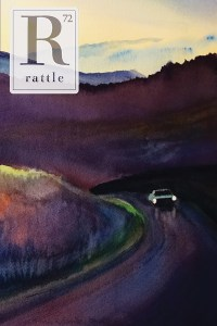 Rattle #72 cover, watercolor painting for a car driving through Smoky Mountains at sunset