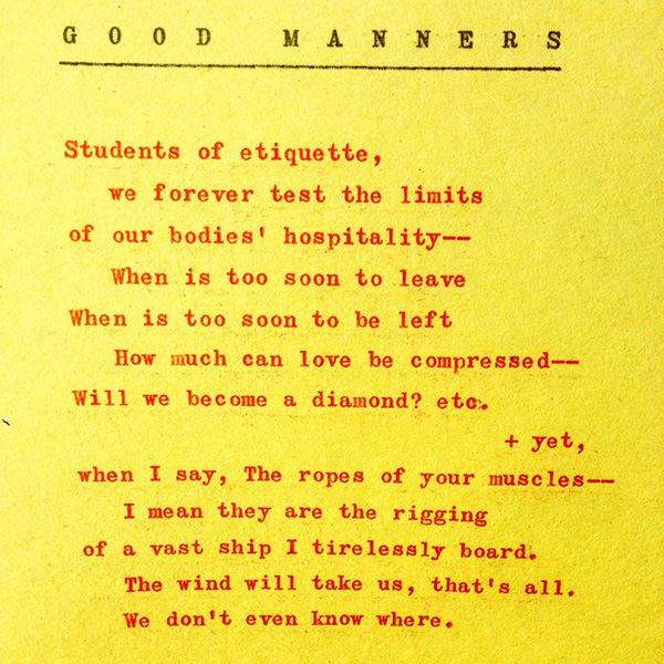 Good Manners by Benjamin Aleshire, poem written in red type on yellow paper