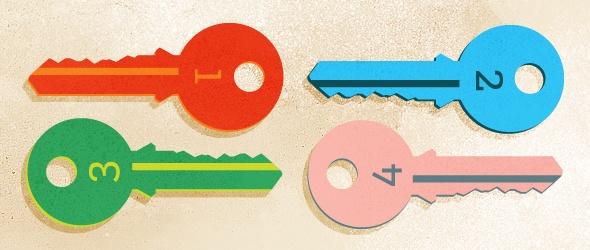 Illustration of 4 keys