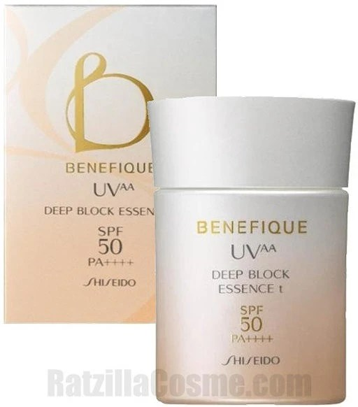 Shiseido BENEFIQUE UV-AA Deep Block Essence t, a Japanese sunscreen milk
