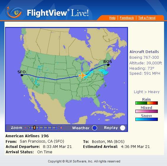 Seguimiento en tiempo real de vuelos comerciales.
