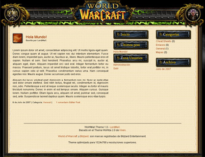 Theme WordPress sobre World of Warcraft en Castellano