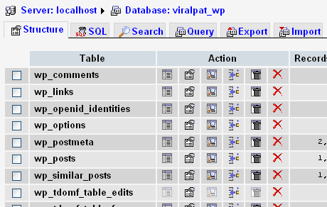 phpmyadmin-wordpress-database