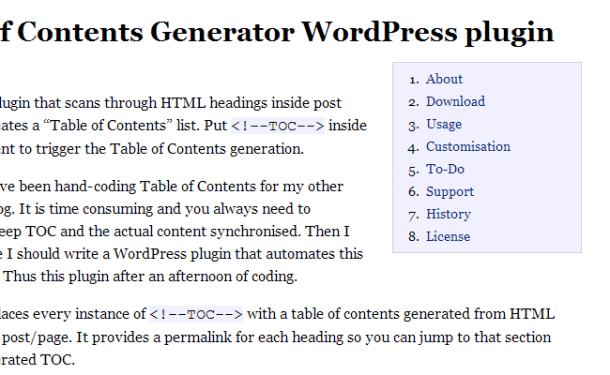 wordpress table of contents generator open source