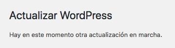 Actualizar WordPress. Hay en este momento otra actualización en marcha - Solución
