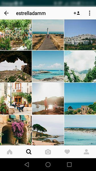 Captura de pantalla del perfil de empresa en Instagram de Estrella Damm como ejemplo de que es preferible contar historias que mostrar productos o servicios