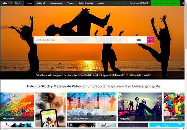 Captura de pantalla de la página de inicio del banco de imágenes Dreamsite donde puedes comprar fotos profesionales y baratas para tu web y tu blog
