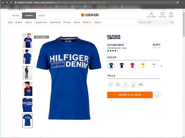 Captura de pantalla de una de las fichas de producto de la web de Zalando donde podemos ver el tipo de fotografía para ecommerce de moda que utilizan en esta sección
