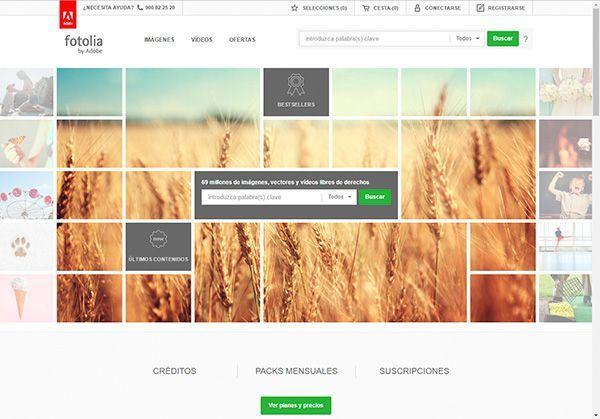 Captura de pantalla de la página de inicio del banco de imágenes Fotolia donde puedes comprar fotos profesionales y baratas para tu web y tu blog