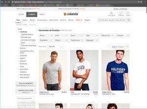 Captura de pantalla de la sección de camisetas de la web de Zalando donde podemos ver el tipo de fotografía para ecommerce de moda que utilizan en esta sección.