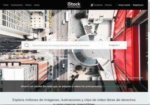 Captura de pantalla de la página de inicio del banco de imágenes iStock donde puedes comprar fotos profesionales y baratas para tu web y tu blog