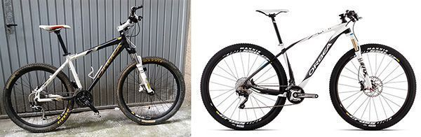 Comparativa de dos fotografías del mismo modelo de bicicleta, siendo el mismo modelo la percepción de calidad y confianza es muy diferente entre las dos fotos.