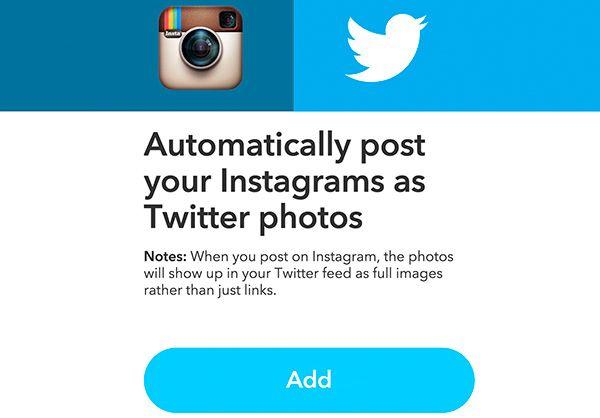 Receta de IFTTT para publicar una foto de Instagram en Twitter, no un link