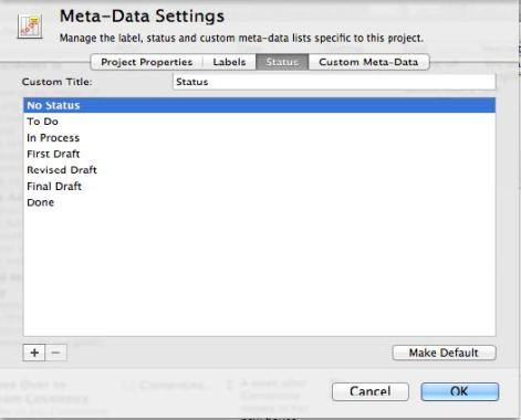 Meta Data Status in Scrivener for Scrivener Saturday Tips
