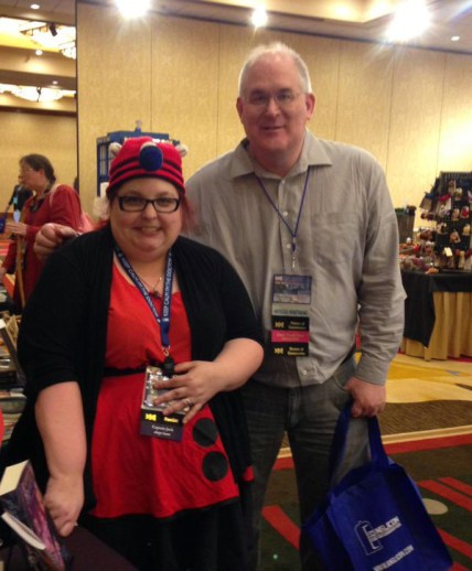 Raven Oak cosplaying as a Dalek and Todd McCaffrey