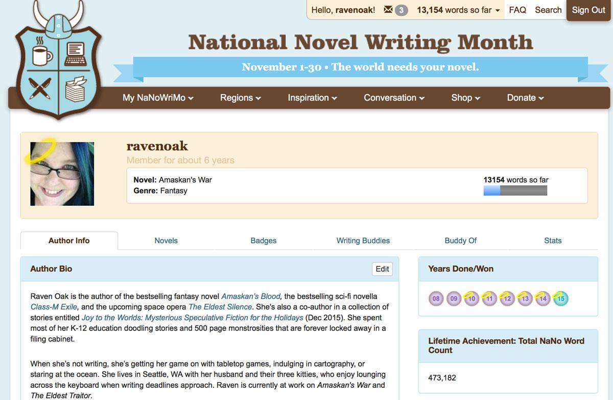 NaNoWriMo profile