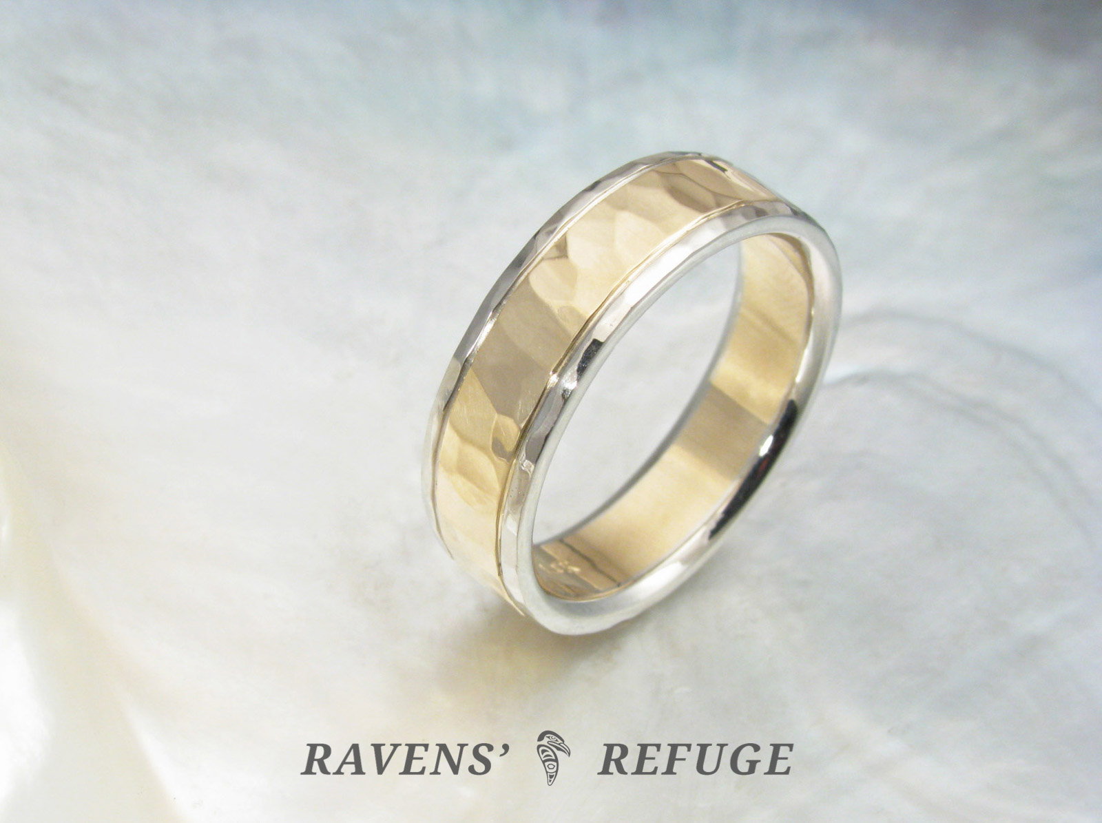 Unique Wedding Band For Men Or Women Hammered Two Tone