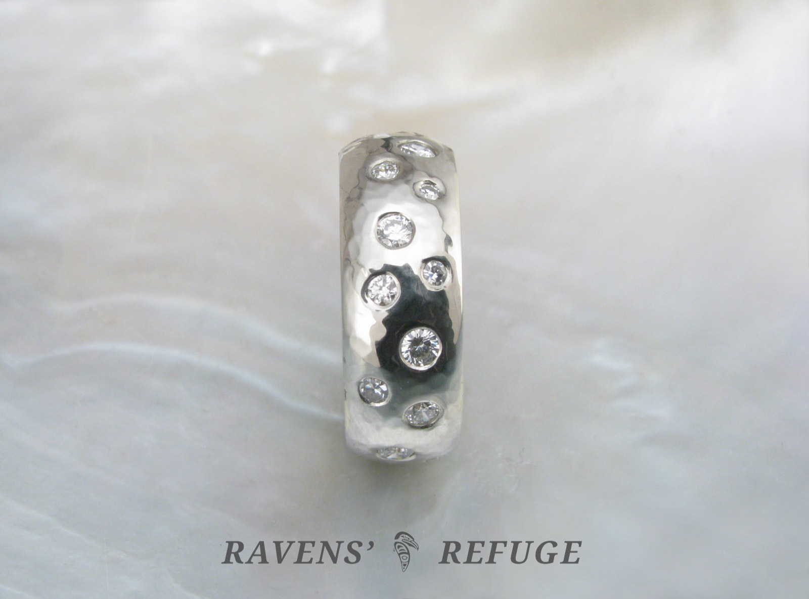 Scattered Diamond Ring Two Tone Hammered Wedding Band Ravens Refuge