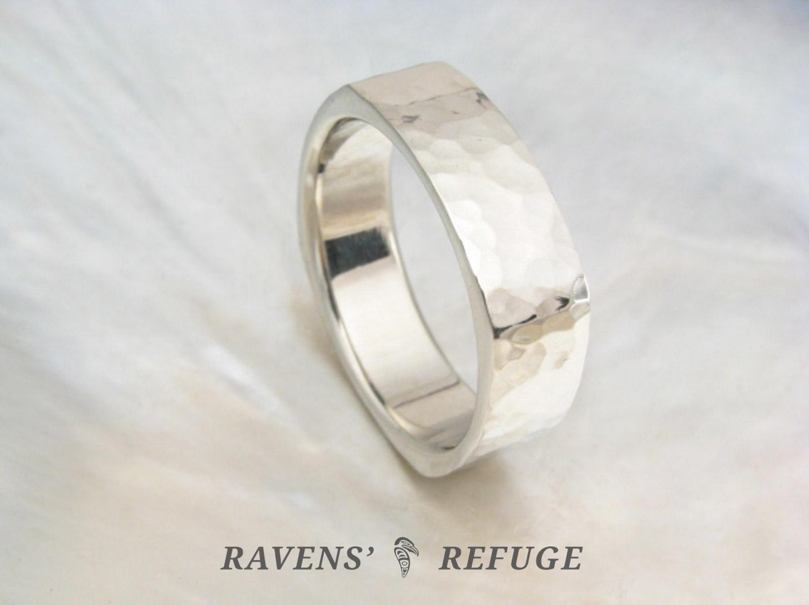 Hammered Square Ring Modern Wedding Band For Men Ravens Refuge