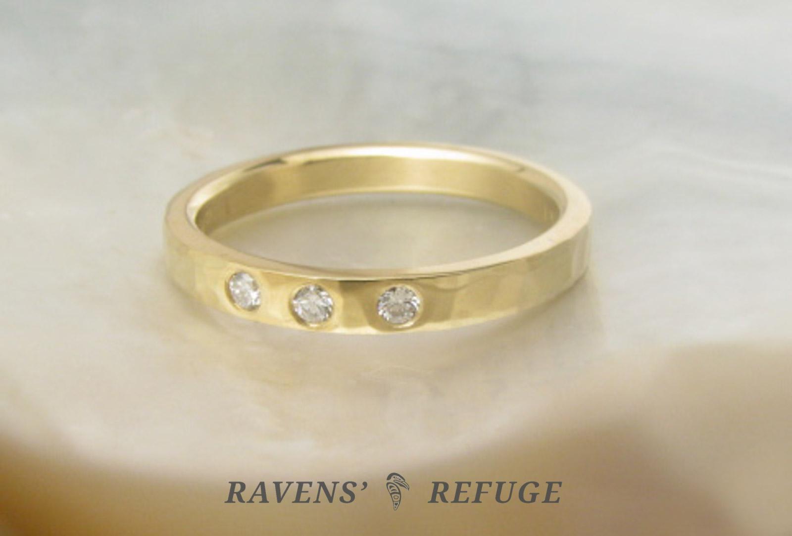 Hammered Wedding Band With Flush Set Diamonds Ravens Refuge