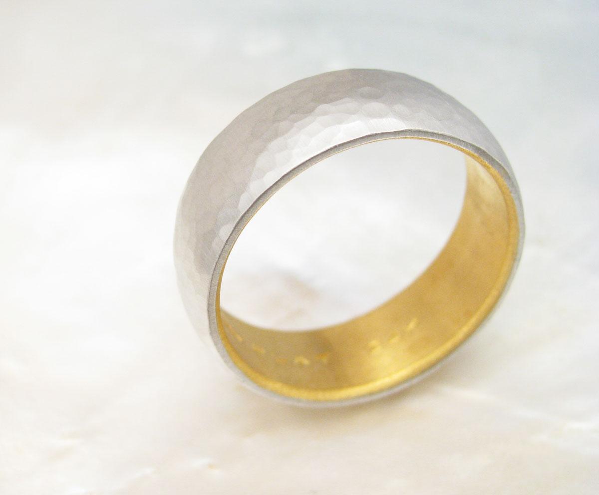 Mens Platinum Wedding Band Hammered Platinum And 24k