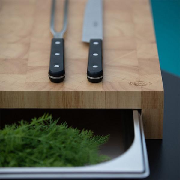planche a decouper en bois avec tiroir bac inox billot eno
