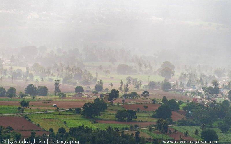 view from Makalidurga hill of rainfall