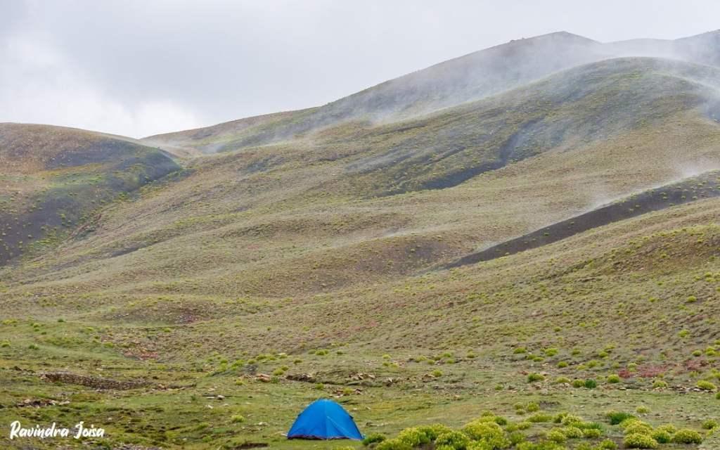 Camping at Mount Kanamo basecamp