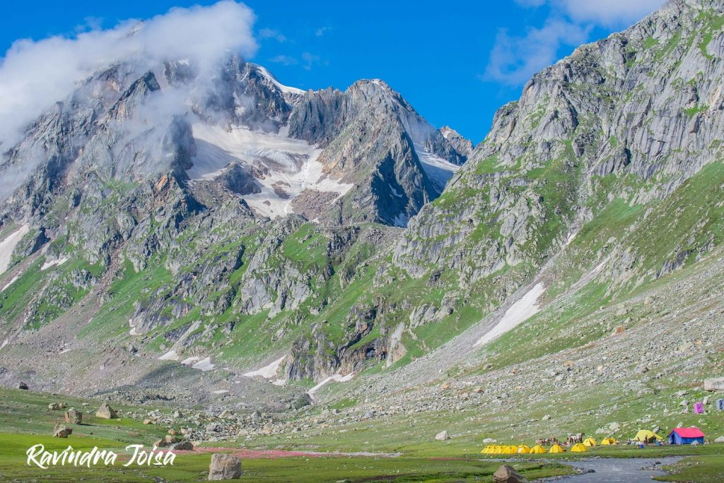 To the right bottom is the Shea Goru Campsite, to the center, is the Hampta Pass. Photo: Ravindra Joisa