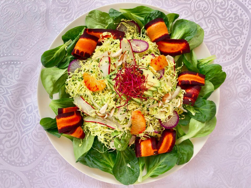 Raw Brussels sprouts winter salad