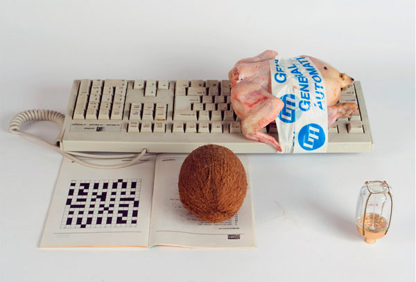 A chicken taped to a keyboard make me sad