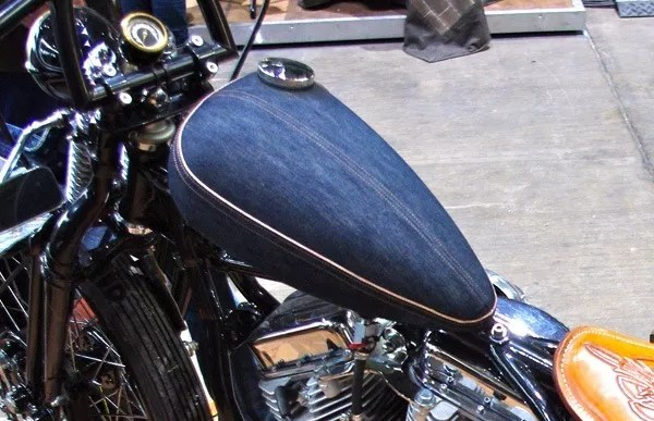 Selvedge Denim Covered Bike Tank at the Rokker Jeans Booth