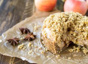 Deep dish apple torte with walnut crumble