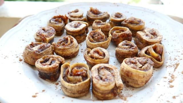Raw vegan cinnamon rolls with chocolate filling