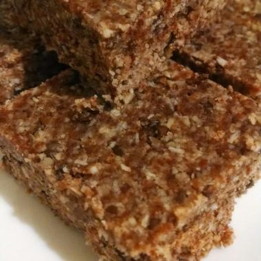 Almond & Fruit Chocolate Energy Bars cut into squares