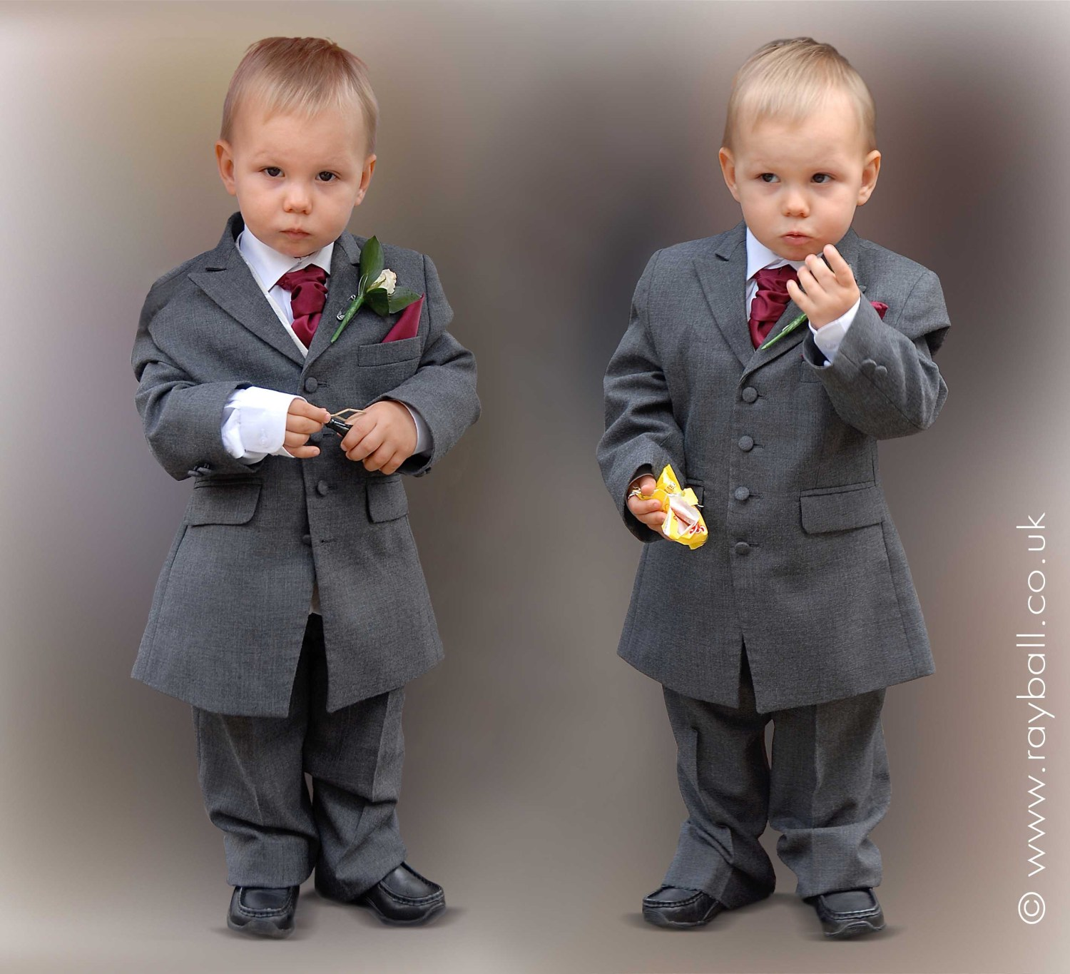 Little Sutton brothers in suits ready for the wedding.