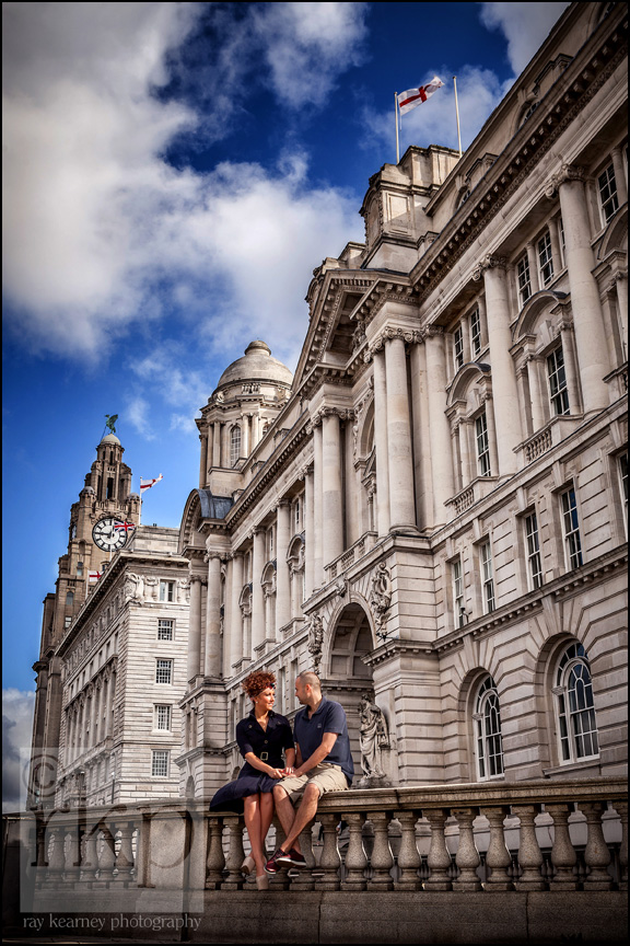 Couple outside Cunard building