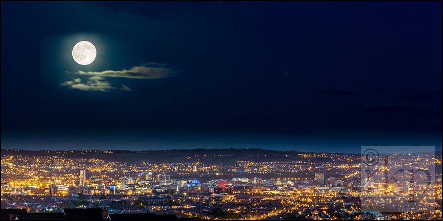 Full moon over Belfast